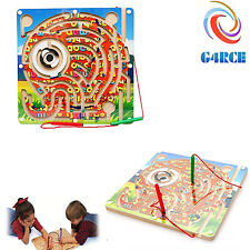 Children Wooden Puzzle Magnet Beads Slot Maze Board Game Gift For Birthday Xmas