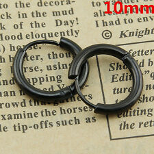Mens Womens Punk Silver Stainless Steel Tube Hoop Ear Ring Stud Earrings Jewelry