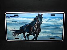 HORSE  METAL NOVELTY LICENSE PLATE TAG FOR CARS BLUE  BLACK MUSTANG HORSE
