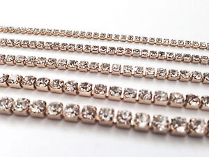 Silver/Gold Cup Rhinestone Chain Trim Clear Crystal Diamante Jewellery Browband
