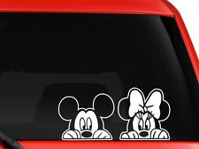 "Mickey and Minnie peeking for car Truck SUV macbook mac decal sticker 8""White"