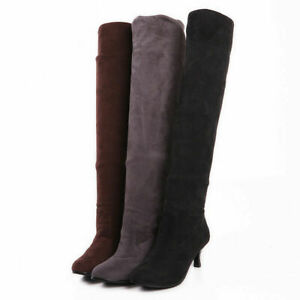Stylish Kitten Heels Womens Stretch Boots Over The Knee High Boots Shoes Plus Sz