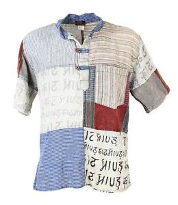 Short Sleeve Patchwork Grandad Shirt