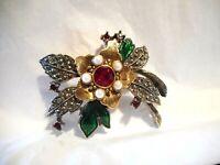 Lovely Vintage Avon Flower Gold Silver Rhinestone Enamel Brooch Pin