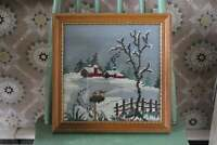 Vintage Framed Needlepoint of Farmhouse, Green Pine Trees & Red Barn in Snow