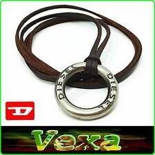DIESEL New Necklace with Pendant ring Genuine Leather Brown Unisex Surf-er ND01