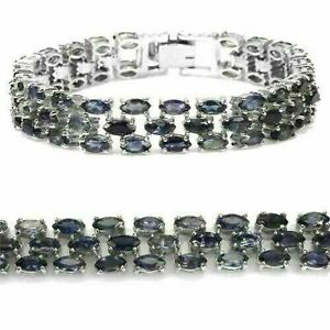 Bracelet Blue Iolite Genuine Natural Gem Sterling Silver Marquise Cut 3 Row 7 In