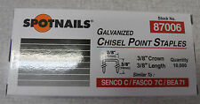 """Staples 10,000 NEW  Galvanized 22 Gauge 3/8"""" crown x 3/8"""" long Upholstery"""