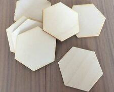 12 Pieces Unfinished Hexagon Wood Laser  Cut Shapes GeometricCraft Shapes