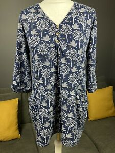 Mantaray Blue Bird & Tree Print Cotton Half Sleeve Uk 14 Tunic Blouse Pockets #5