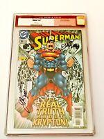 Superman #166 Holochrome Foil CGC 9.8 Dual Signed Case McGuinness & Loeb DC 2001