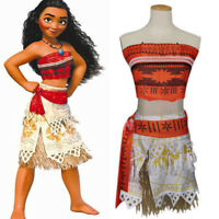 Girls Moana Princess Dress Up Costume Disney Party Cosplay Summer Fancy Dresses