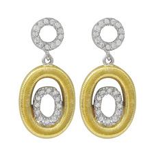 Sterling Silver Two-tone Finish White Cubic Zirconia Open Oval Dangle Earrings