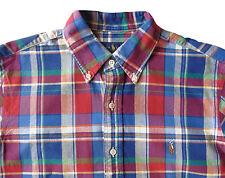 Men's RALPH LAUREN Red Blue Colors Plaid Oxford Shirt 2XLT TALL 2XT 2LT NWT NEW