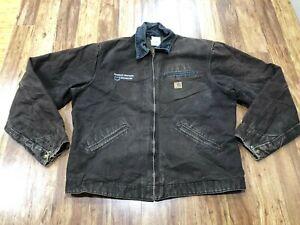 MENS XL TALL - Vtg Carhartt J97 Sandstone Blanket Quilted Lined Detroit Jacket
