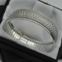 925 Sterling Silver Wide & Heavy Vintage Diamond Cut Domed Strap Design Bracelet