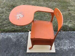 Vintage School Desk, Top & Back Rest are Wood, Frame is All Metal Orange Color