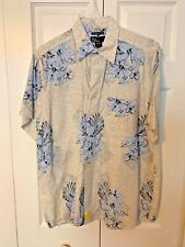 Marc Edwards Mens Button Down Camp Shirt Size Large Washable Linen Beige BLUE