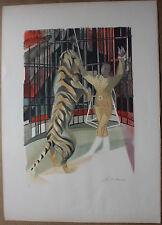 Camille HILAIRE - Lithographie signée numérotée le dompteur cirque tigre