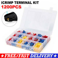 1200PCS Electrical Wire Connectors Crimp Terminals Insulated Spade Ring Set Kit