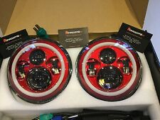 Jeep Wrangler TJ JK 7'' Red LED Head Lights great quality Kit With Halo