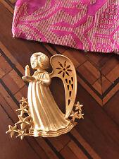 Rare! Signed Gold Crow Angel Stars Brooch Spilla Angelo Stelle Vintage
