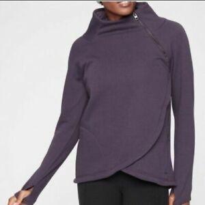ATHLETA Cozy Karma Asym Pullover S SMALL Regal Plum SOFT Sweatshirt