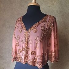 Sequin Beaded Formal Cape Collar Shoulder Shrug Shawl Wrap Champagne Chiffon