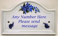 Forget Me Not House Door Plaque Blue Flowers Ceramic House Sign Any Number