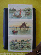 """Lot of (3) 19th Century Lithograph """"Vacation in France"""" Postcards - En Francais"""