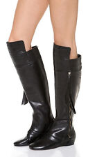 NEW 10 Crosby Derek Lam Loden Black Leather Over the Knee Wedge Boot Size US 7.5