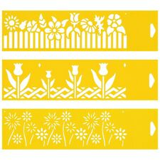 3 Stencils Cake Wall Airbrush Decorating Drawing Template Flowers Hedge Tulips