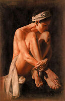 Beautiful Oil painting portraits nude female young woman seated on canvas