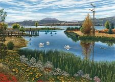 """OKANAGAN WATERSCAPE -""""The Rotary Marshes"""" by Mal Gagnon - Watercolor Litho Print"""