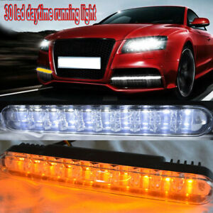 2pc 12W 30LED Daytime Running Light Bar DRL Fog White lights + Amber Turn Signal