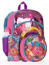 "Trolls 5-Piece 16"" Backpack Set w/ Lunch Bag Water Bottle Pencil Case Carabiner"