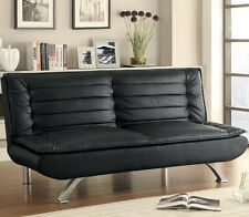 NEW DURNAM CONTEMPORARY BLACK BYCAST LEATHER ADJUSTABLE FUTON SOFA BED LOUNGER