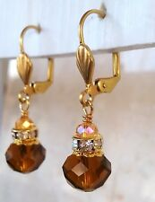 Small Drop Crystal Earrings Brown Artisan Handmade Swarovski Element Leverback