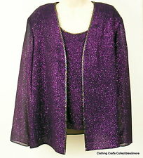 Evening Deep Purple Top Jacket Womens 10P 2 pc Christmas Holiday Sparkle NWT