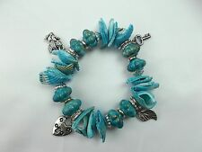 Vintage Seashell Charm Stretch Bead Bracelet Turquoise Blue with pendants