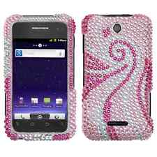 For ZTE Score Crystal Diamond BLING Hard Case Phone Cover Pink Tail