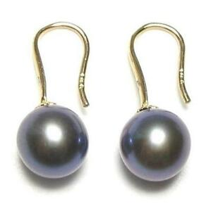 8-8.5mm AAA Genuine Black Pearl Hook Earrings in 14K Yellow Gold & Diamonds