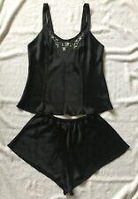 Victoria's Secret Vintage 100% Silk Black Camisole & Short Set Medium