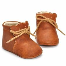 Infant Boy Soft Bottom Walking Footwear Ankle Leather Cross-tied Solid Shoes New