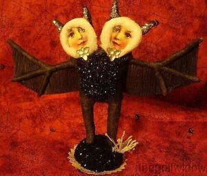 Vintage Inspired Spun Cotton Siamese Bats Ornament Halloween! No. 261