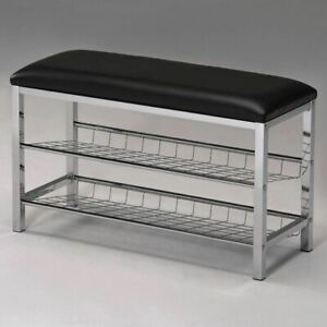 NEW Metal Shoe Bench Entryway Organizer Storage Rack Cushion Black Chrome Bed