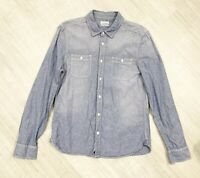 Mens All Saints Denim Shirt Sz Medium Long Sleeve Blue Wash Fashion Occasion