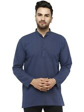 Men's Shirt Kurta Long Sleeve Casual Button Down Cotton Tunic Dress Regular Fit