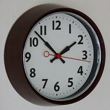 NEW 22cm Retro Wall Clock - Vintage Brown 60s 70s Silent Metal Kitchen Clock