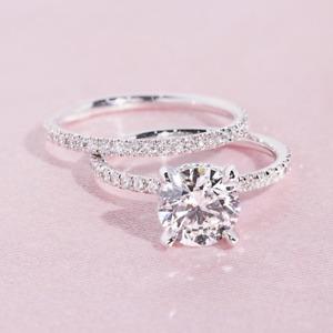 1.78 TCW Round Cut Moissanite Bridal Set Engagement Ring 14k White Gold Plated